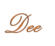 Dee signature in orange and gold